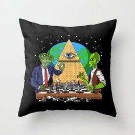 Alien Illuminati Conspiracy Throw Pillow