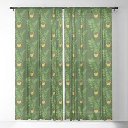 ZZ Plant Zamioculcas Tropical Houseplant Painting Sheer Curtain