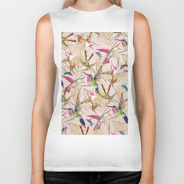 Colorful pink green hummingbird faux gold floral Biker Tank