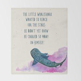 little whaleshark between stars Throw Blanket