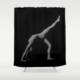 9466s-DJA BW Zebra Striped Nude Woman Yoga Pose Shower Curtain