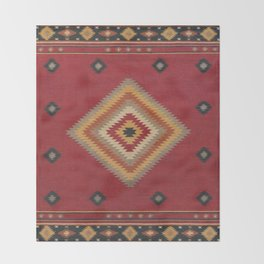 (N14) Red Anthropologie Oriental Moroccan Traditional Artwork. Throw Blanket