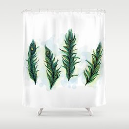 Peacock Feather Tangle Shower Curtain