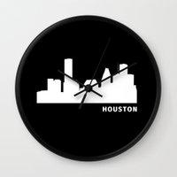 houston Wall Clocks featuring Houston, Texas by Fabian Bross
