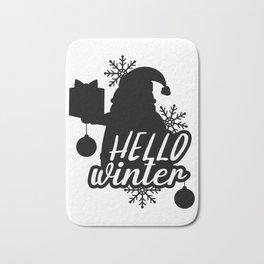 Hello Winter Santa Bath Mat