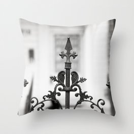 New Orleans Marigny Black and White Fence Throw Pillow