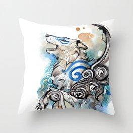 Blue Okami Amaterasu Throw Pillow