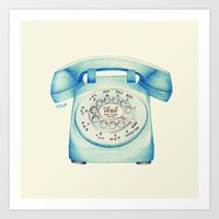 novelty Art Prints featuring Rotary Telephone - Ballpoint by One Curious Chip