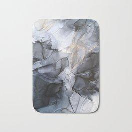 Calm but Dramatic Light Monochromatic Black & Grey Abstract Bath Mat