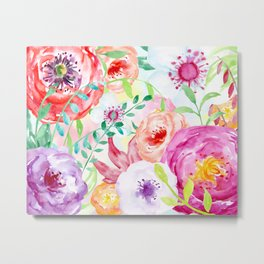 Watercolor Vibrant Flowers Red and Purple Metal Print