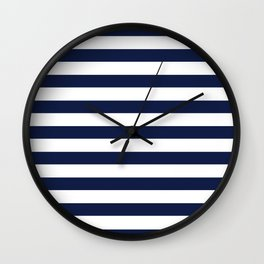 Nautical Navy Blue and White Stripes Wall Clock