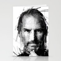 steve jobs Stationery Cards featuring STEVE JOBS by Raditya Giga
