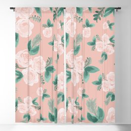 Watercolor Roses in Soft Pink Blackout Curtain