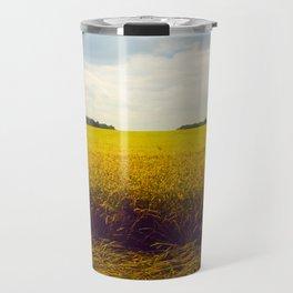 Prairie Landscape Bright Yellow Wheat Field Travel Mug