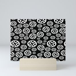 Scattered Circles - Black and White Pattern of Circles and Crosses Mini Art Print