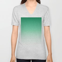 Modern forest green white gradient pattern Unisex V-Neck