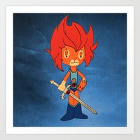 thundercats Art Prints featuring Lion-o by Christophe Chiozzi