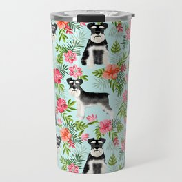 Schnauzer hawaii pattern floral hibiscus floral flower pattern palm leaves Travel Mug