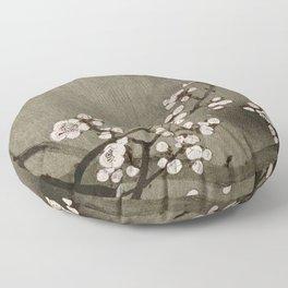 Blossoming plum tree at full moon  - Vintage Japanese Woodblock Print Art Floor Pillow
