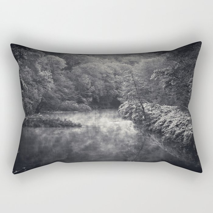 River in Black and Silver Rectangular Pillow