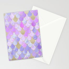 Girls, Mermaid Scales, Cute Pattern, Pink Lilac, Purple, Gold Stationery Cards