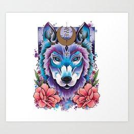 Neo Traditional Moonlight Wolf Art Print