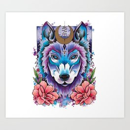 Neo Traditional Moonlight Wolf Art Print