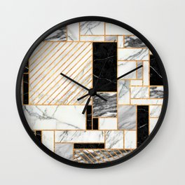 Random Pattern - Black and White Marble Wall Clock