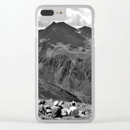 zwölferkopf hiking break view alps serfaus fiss ladis tyrol austria europe black white Clear iPhone Case