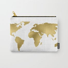 Gold Foil Map - Metallic Globe Design Carry-All Pouch