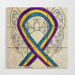 Bladder Cancer Awareness Ribbon Angel Art Painting Wood Wall Art