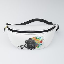 Indian Silhouette With Colorful Headdress Fanny Pack