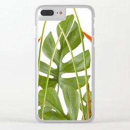 2 Exotic Flowers Helikonias and Monstera white Clear iPhone Case