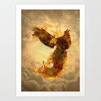 phoenix Art Prints featuring Phoenix by Barruf