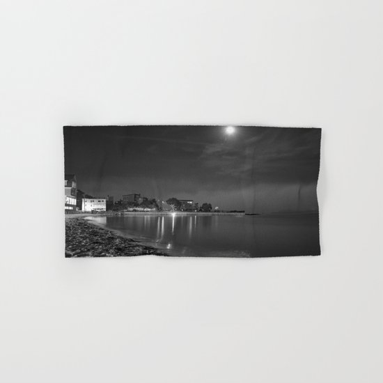 Foggy Moonlit Beach B&W Hand & Bath Towel