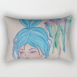 Blue lady Rectangular Pillow