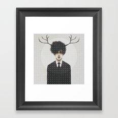 BLACK SUIT ANTLERS Framed Art Print