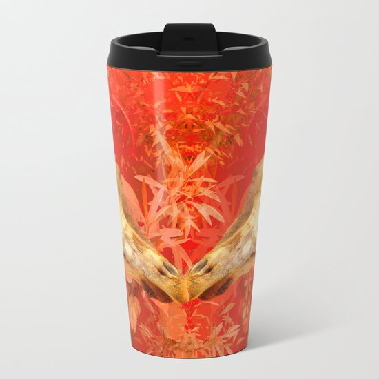 Face to face - beautiful giraffes - love is in the air Metal Travel Mug