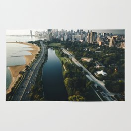 chicago aerial view of the skyline Rug