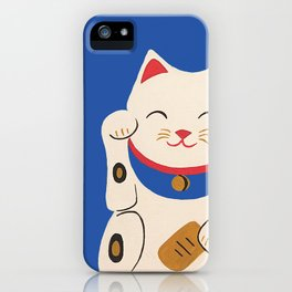 Blue Lucky Cat Maneki Neko iPhone Case