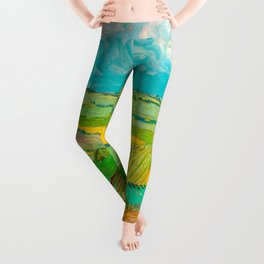 Wheat Fields after the Rain (The Plain of Auvers), July 1890 Oil Painting by Vincent van Gogh Leggings