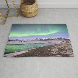 ICELAND NORTHERN LIGHTS JOKULSARLON ICE LAGOON AURORA BOREALIS NIGHT LANDSCAPE Rug