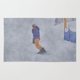 Sliding into Home - Winter Snowboarder Rug
