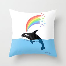Killer Whale Blows Rainbow Throw Pillow