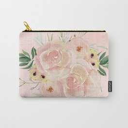 Wild Roses on Seashell Pink Watercolor Carry-All Pouch