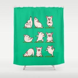 Pig Yoga Shower Curtain