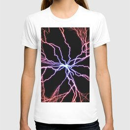 Electrical Lightning Discharge Blue to Red T-shirt