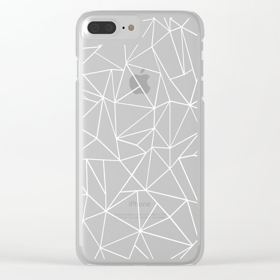 Abstraction Outline Black and White Clear iPhone Case