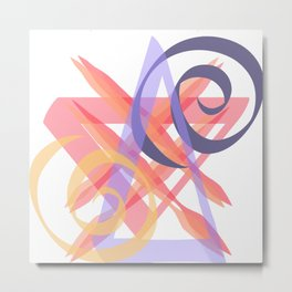 Curved and Straight Lines, Abstract Metal Print