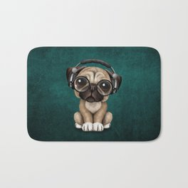 Cute Pug Puppy Dj Wearing Headphones and Glasses on Blue Bath Mat